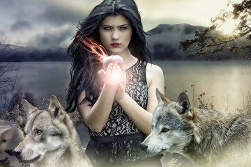 Bruxa com lobos